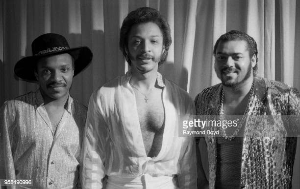 Ernie Isley Chris Jasper and Marvin Isley from Isley Jasper Isley poses for photos at the Hyatt Regency Hotel in Chicago Illinois in January 1986