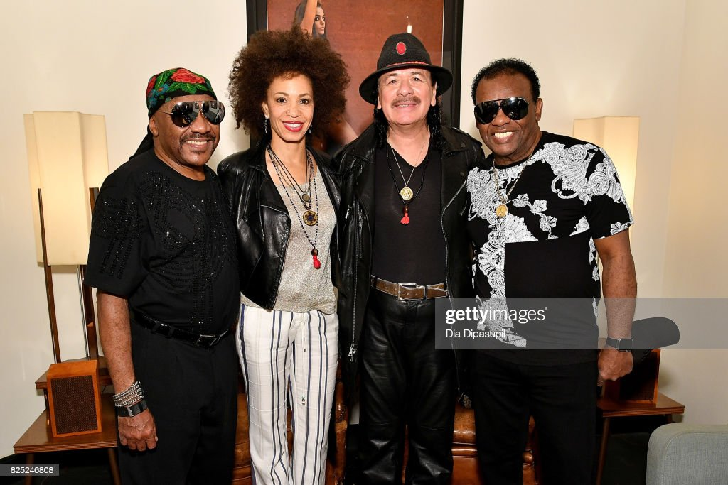 Ernie Isley, Cindy Blackman Santana, Carlos Santana, and Ronald Isley attend the Santana and The Isley Brothers Media Event at Electric Lady Studio on August 1, 2017 in New York City.