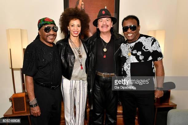 Ernie Isley Cindy Blackman Santana Carlos Santana and Ronald Isley attend the Santana and The Isley Brothers Media Event at Electric Lady Studio on...