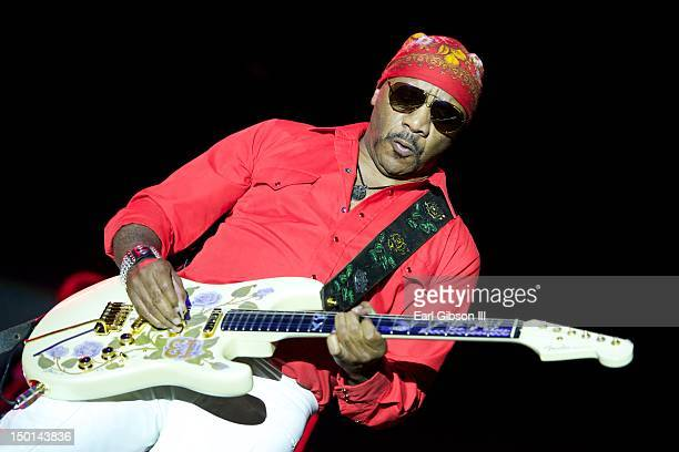 Ernie Isley performs on the opening night with The Isley Brothers at the Long Beach Jazz on August 10, 2012 in Long Beach, California.