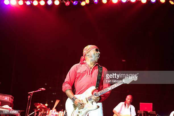 Ernie Isley performs on the opening night with The Isley Brothers at the Long Beach Jazz on August 10 2012 in Long Beach California