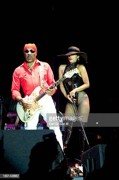 Ernie Isley performs with The Isley Brothers at the opening of The Long Beach Jazz Festival on August 10 2012 in Long Beach California