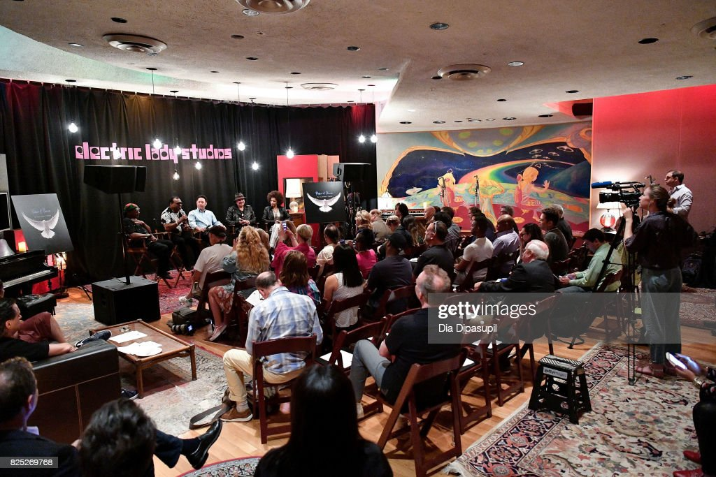 Ernie Isley, Ronald Isley, Alan Light, Carlos Santana, and Cindy Blackman Santana attend the Santana and The Isley Brothers Media Event at Electric Lady Studio on August 1, 2017 in New York City.