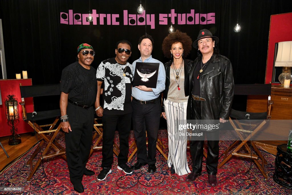Ernie Isley, Ronald Isley, Alan Light, Cindy Blackman Santana, and Carlos Santana attend the Santana and The Isley Brothers Media Event at Electric Lady Studio on August 1, 2017 in New York City.