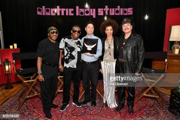 Ernie Isley Ronald Isley Alan Light Cindy Blackman Santana and Carlos Santana attend the Santana and The Isley Brothers Media Event at Electric Lady...