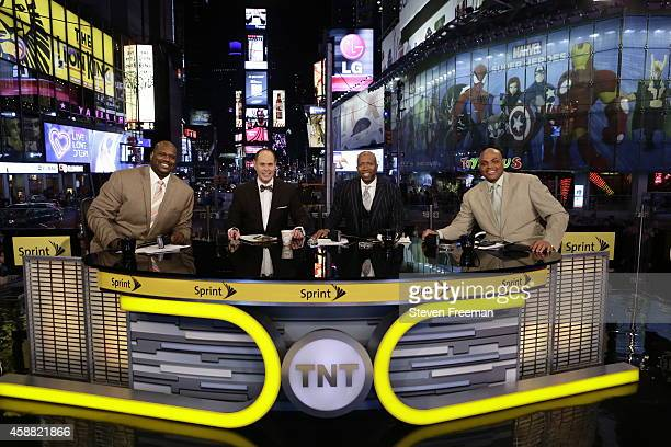 Ernie Johnson Charles Barkley Kenny Smith and Shaquille O'Neal of 'Inside the NBA' pose for a picture at the TNT tip off event at Times Square...