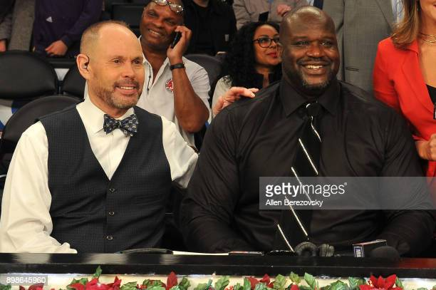 Ernie Johnson Jr and Shaquille O'Neal attend a basketball game between the Los Angeles Lakers and the Minnesota Timberwolves at Staples Center on...