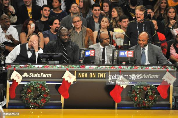 Ernie Johnson Jr Shaquille O'Neal Kenny Smith and Charles Barkley call a basketball game between the Los Angeles Lakers and the Minnesota...