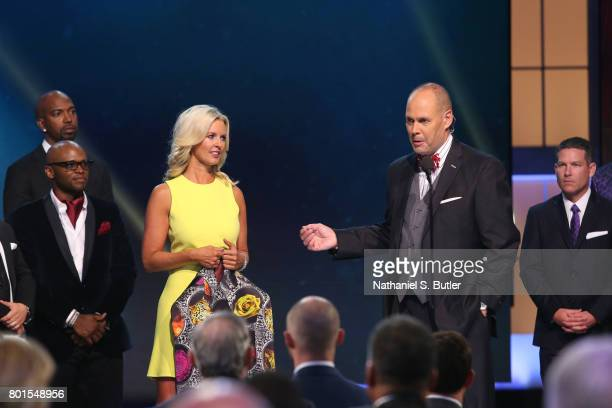 Ernie Johnson presents the Sager Strong Award at the NBA Awards Show on June 26 2017 at Basketball City at Pier 36 in New York City New York NOTE TO...