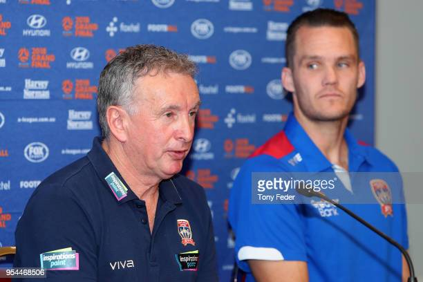Ernie Merrick and Nigel Boogaard of the Jets talk to the media at the official prematch press conference during a media opportunity ahead of the 2018...