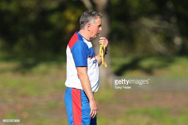 Ernie Merrick coach of the Jets during a Newcastle Jets ALeague training session at Ray Watt Oval on May 1 2018 in Newcastle Australia