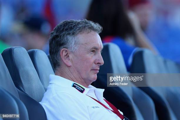 Ernie Merrick coach of the Jets looks on during the round 25 ALeague match between the Newcastle Jets and Melbourne City at McDonald Jones Stadium on...