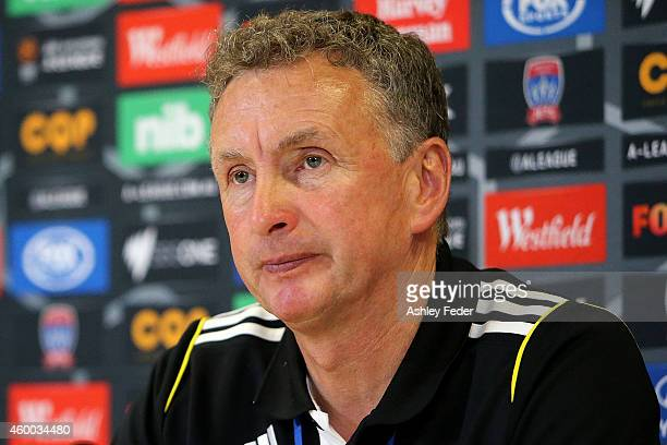 Ernie Merrick coach of the Phoenix during the press conference during the round 10 ALeague match between the Newcastle Jets and the Wellington...