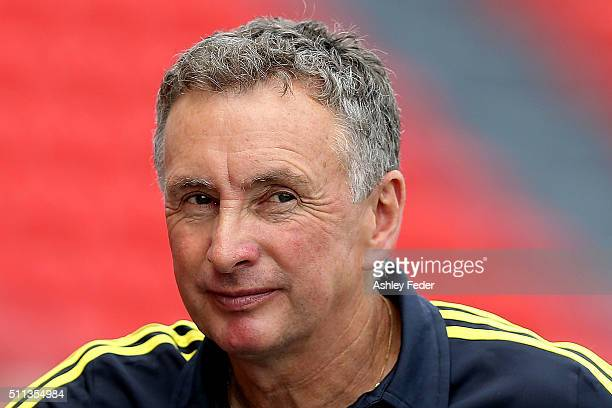 Ernie Merrick coach of the Phoenix watches on during the round 20 ALeague match between the Newcastle Jets and Wellington Phoenix at Hunter Stadium...