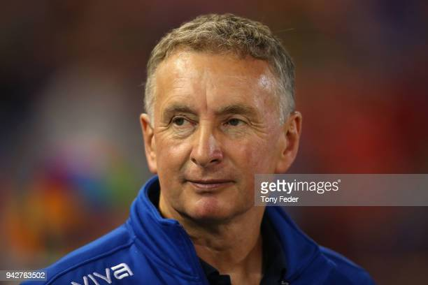 Ernie Merrick of the Jets during the round 26 ALeague match between the Newcastle Jets and the Perth Glory at McDonald Jones Stadium on April 6 2018...
