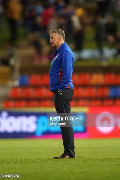 Ernie Merrick of the Jets looks dejected after the defeat to the Glory during the round 26 ALeague match between the Newcastle Jets and the Perth...