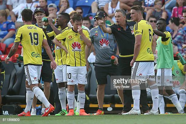 Ernie Merrick of the Phoenix instructs his players during the round 20 ALeague match between the Newcastle Jets and Wellington Phoenix at Hunter...