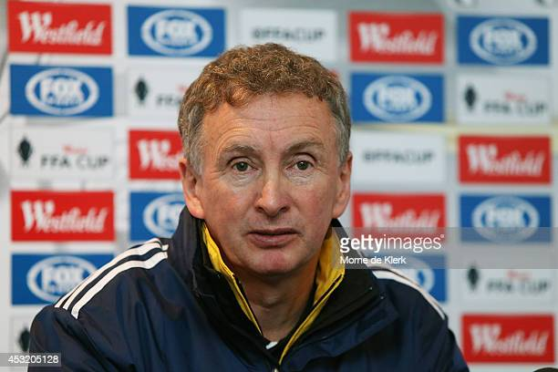 Ernie Merrick of the Phoenix speaks to media during a press conference after the FFA Cup match between Adelaide United and Wellington Phoenix at...