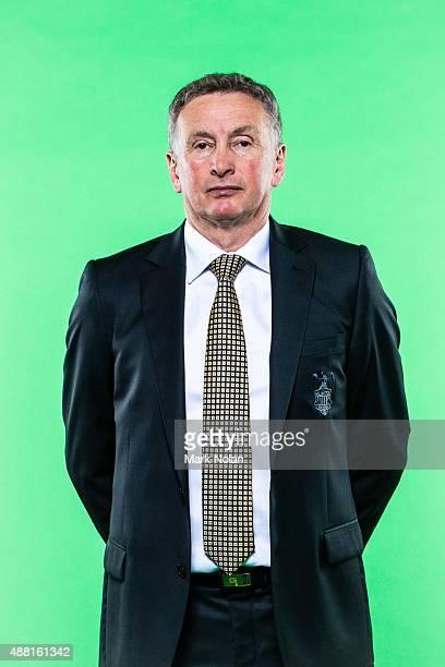 Ernie Merrick poses during the Wellington Phoenix 2015/16 ALeague headshots session at Fox Sports Studios on September 14 2015 in Sydney Australia