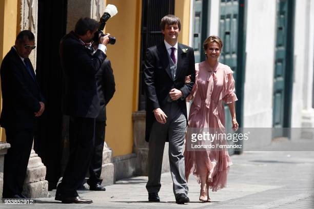Ernst August of Hanover Hereditary Prince of Hanover and Elizabeth Foy Vasquez bride's mother walk during the wedding of Prince Christian of Hanover...