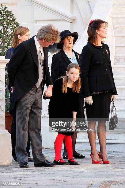 Ernst August of Hanover, HRH Princess Alexandra of Hanover, and HRH Princess Caroline of Hanover during National day in Monaco.