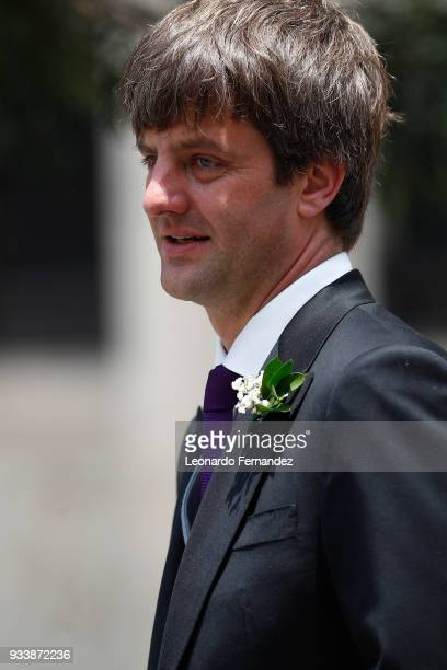 Ernst August of Hanover looks on after the wedding of Prince Christian of Hanover and Alessandra de Osma at Basilica San Pedro on March 16 2018 in...