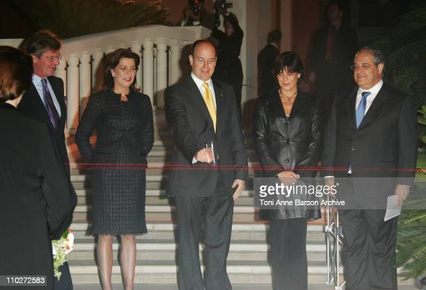 HSH Ernst August of Hanover Princess Caroline of Hanover HSH Prince Albert II of Monaco cutting the laser ribbon and Princess Stephanie of Monaco
