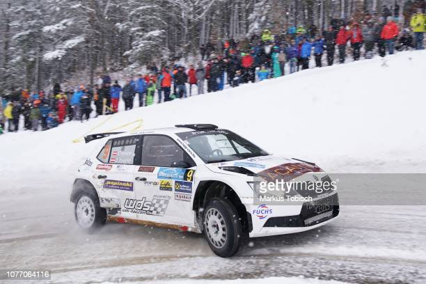 Ernst Haneder of Austria and Daniel Foissner of Austria in theier Skoda Fabia R5 during the Jaenner Rallye at Freistadt on January 4 2019 in...