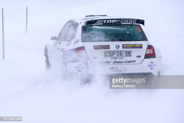 Ernst Haneder of Austria and Daniel Foissner of Austria in theier Skoda Fabia R5 during the Jaenner Rallye at Freistadt on January 5 2019 in...