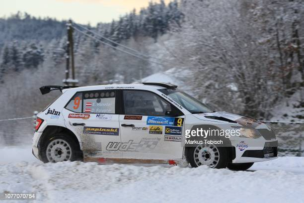 Ernst Haneder of Austria and Daniel Foissner of Austria in their Skoda Fabia R5 during the Jaenner Rallye at Freistadt on January 4 2019 in Freistadt...