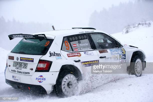 Ernst Haneder of Austria and Daniel Foissner of Austria in their Skoda Fabia R5 during the Jaenner Rallye at Freistadt on January 5 2019 in Freistadt...