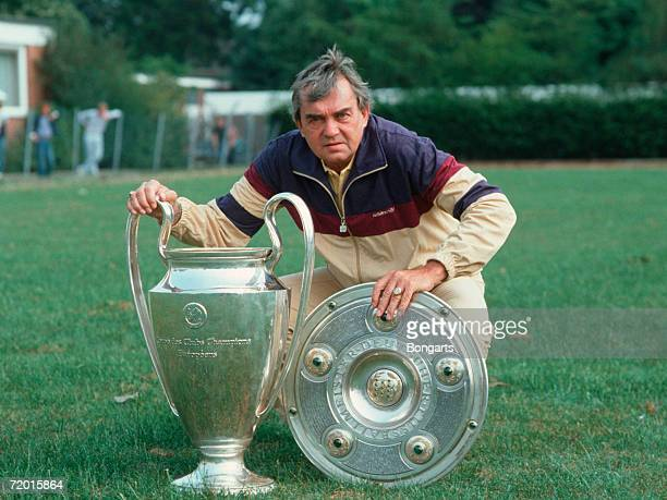 Ernst Happel head coach of Hamburg poses with trophy's during the photo call of the Bundesliga team Hamburger SV at the PaulHauenschild sports...