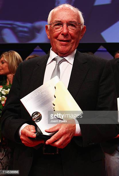 Ernst Huberty presents his award during the Herbert Award 2009 Gala at the Elysee Hotel on May 23 2011 in Hamburg Germany