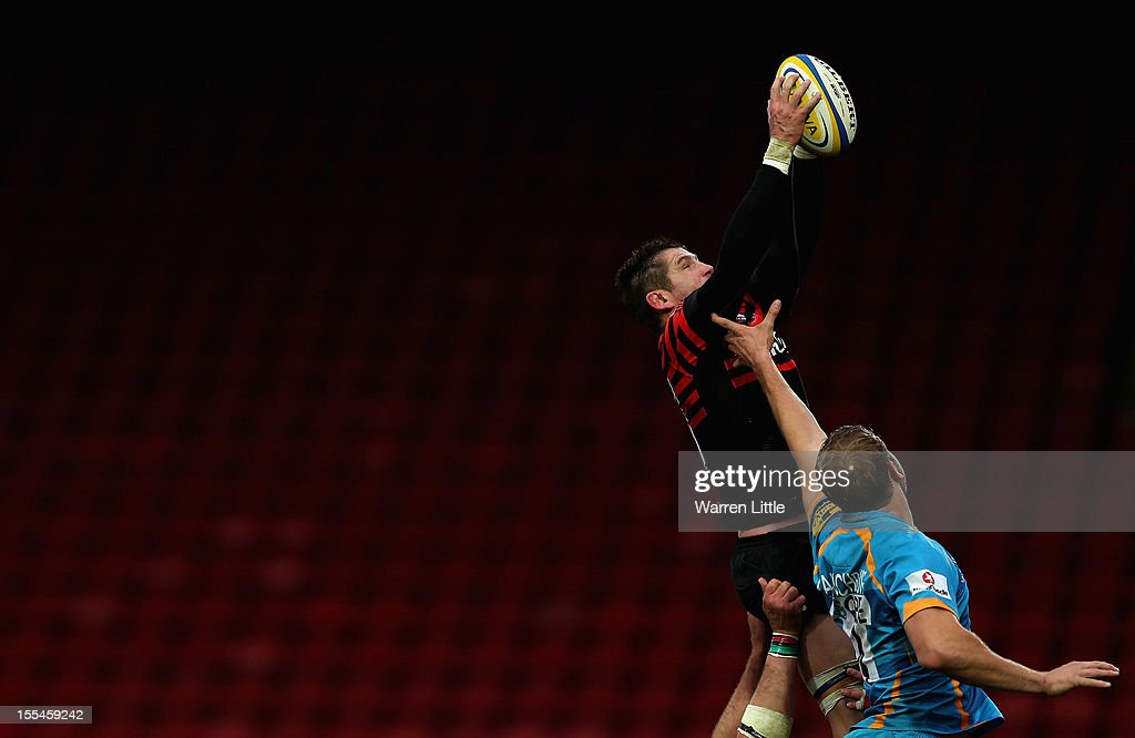 Ernst Joubert of Saracens jumps in the line out during the Aviva Premiership match between Saracens and London Wasps at Vicarage Road on November 4, 2012 in Watford, England.
