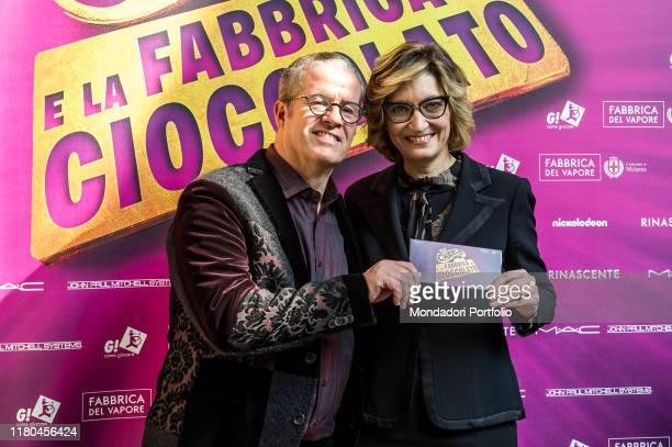 Ernst Knam and Alessandra Mion attend at the presentation of Charlie and the Chocolate factory the musical at Palazzo Marino Milan October 11th 2019