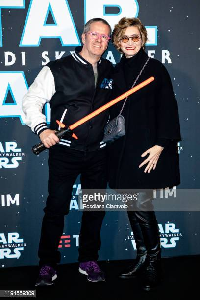 Ernst Knam and Alessandra Mion attend the special presentation of the movie Star Wars L'Ascesa Di Skywalker on December 17 2019 in Milan Italy