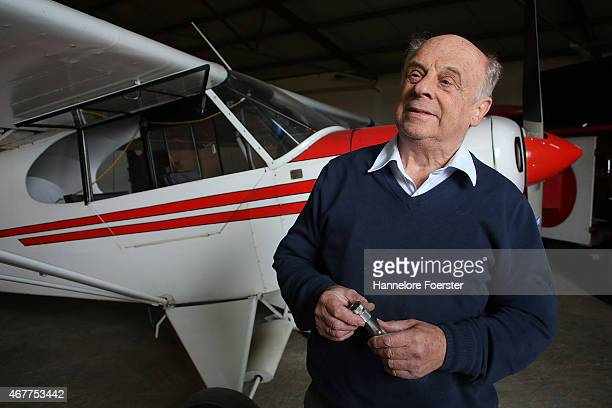 Ernst Mueller honorary member of the LSC Westerwald airfield where Andreas Lubitz copilot of Germanwings flight 4U9525 first learned to fly stands...