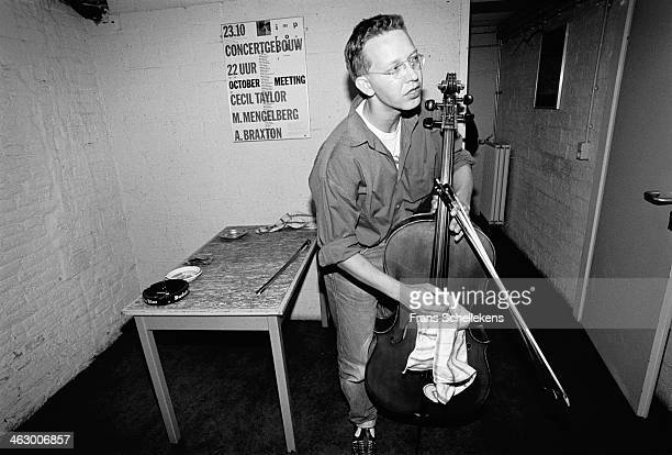 Ernst Reijseger, cello, poses at the BIM Huis on 9th September 1990 in Amsterdam, the Netherlands.