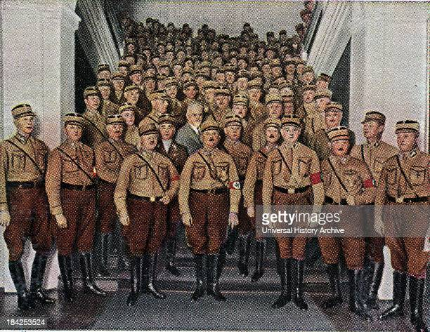 Ernst Roehm Leader of the SA with fellow members at a Nazi gathering, Germany circa 1933