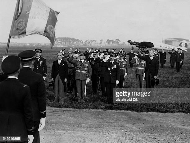 Ernst Udet officer aviator Germany Arrival with the air marshall Milch at the airfield of Le Bourget October 1937 published in the 'BZ' from