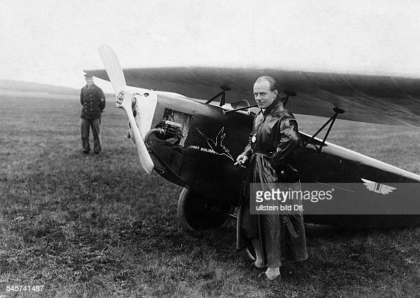 Ernst Udet officer aviator Germany during a glider competition in front of his Kolibri 1924