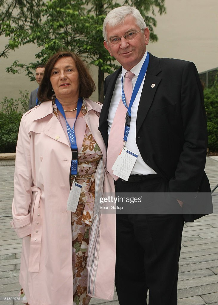 Ernst Uhrlau, head of the German intelligence service, the BND, and his wife Sonja attend the opening of the new U.S. embassy on July 4, 2008 in Berlin, Germany. Architectural critics claim the embassy, designed by American architect Moore Ruble Yudell, offers little in architectural innovation or design.
