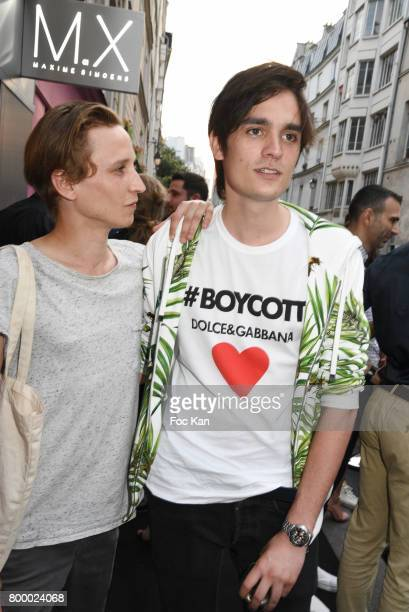 Ernst Umhauer and Alain Fabien Delon attend the MX Paris Max Simoens Flagship Opening Show Party as part of Paris Fashion Week on June 22 2017 in...