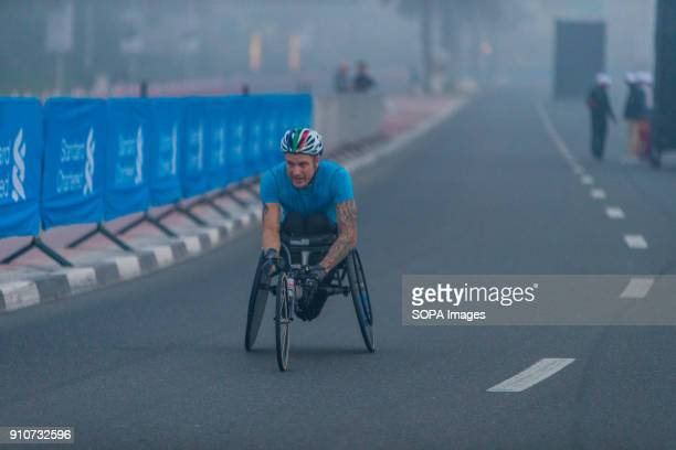 Ernst Van Dyk of South Africa is in action during the Standard Chartered Dubai Marathon for Wheel Chairs He came third in a time of 13214