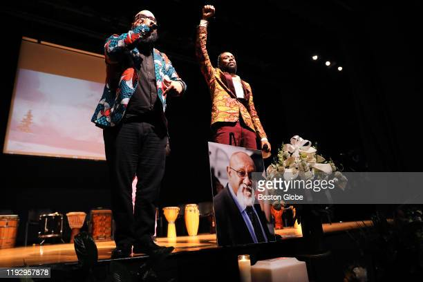 Eroc ArroyoMontano and Banjineh OpTimus Browne of Boston hiphop group Foundation Movement finish a performance at the memorial service for Charles...