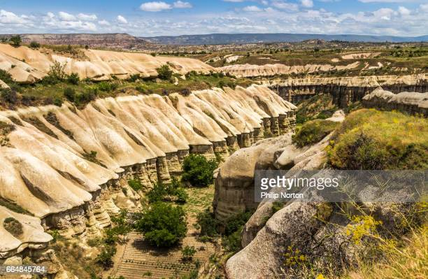 eroded formations in a cappadocia landscape - central anatolia stock photos and pictures