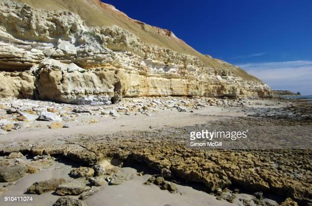 eroded limestone cliffs and rocky reef at low tide at port willunga, fleurieu peninsula, south australia, australia - ウィランガ ストックフォトと画像