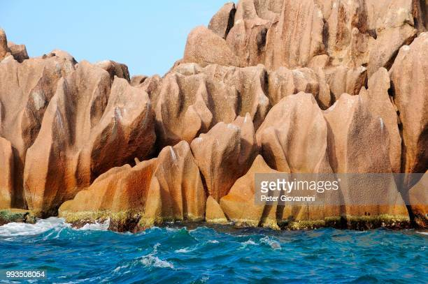 Eroded rocks in the sea, Curieuse Island, near Praslin Island, Seychelles