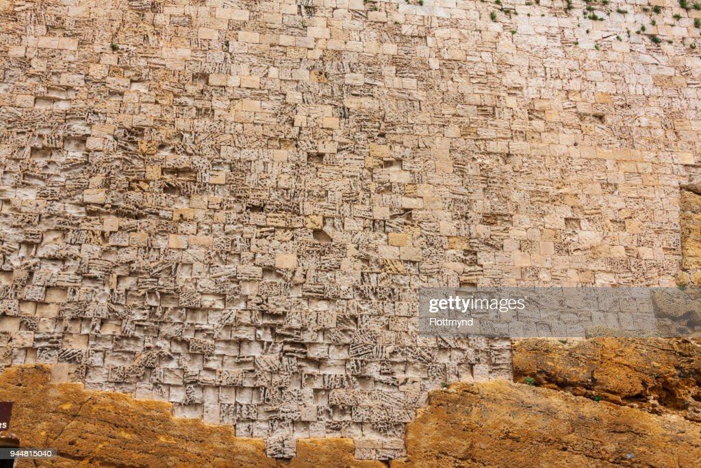 Eroded wall of the Citadel in Victoria Gozo, Malta : Stock Photo