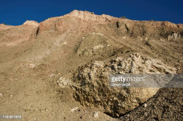 eroding clay and limestone cliffs at aldinga beach, south australia, australia - ridge stock pictures, royalty-free photos & images